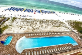 View of the new pool and beach